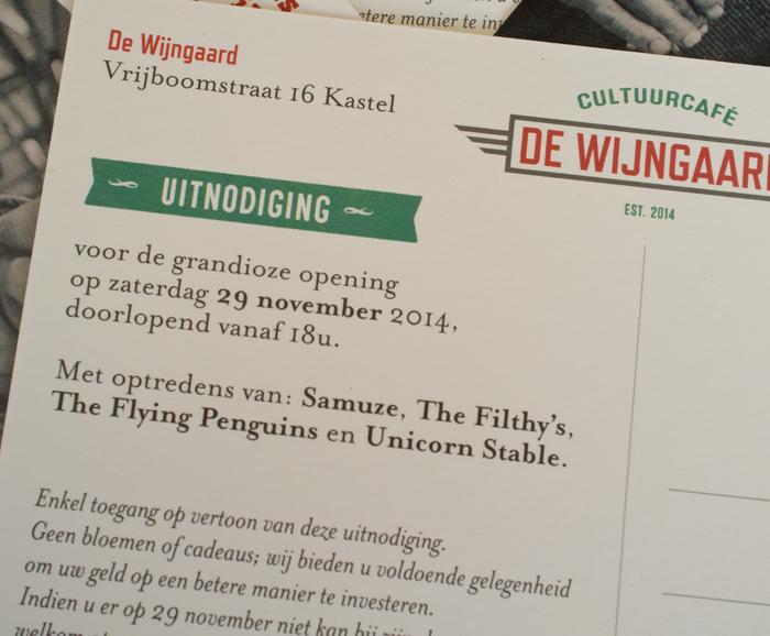 Uitnodiging opening cultuurcafé De Wijngaard in Kastel - verso detail