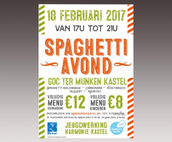 Affiche Spaghetti avond Jeugdwerking Harmonie Kastel